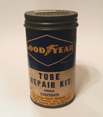 Vintage GoodYear Tire Tube Repair Kit Can Garage Gas Oil Good Year
