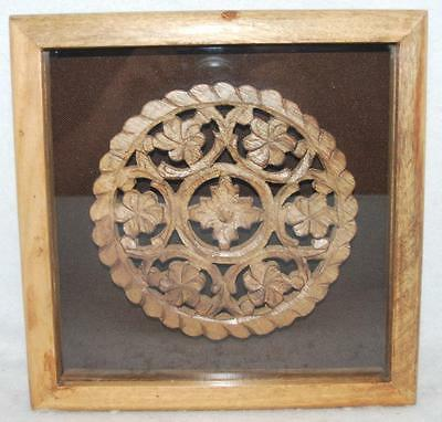 Vintage Asian Handcarved Wooden Fretwork, Mounted And Framed