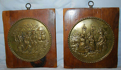 "Pair Of Vintage 11"" Dutch Wooden Embossed Windmill Wall Plaques Holland"