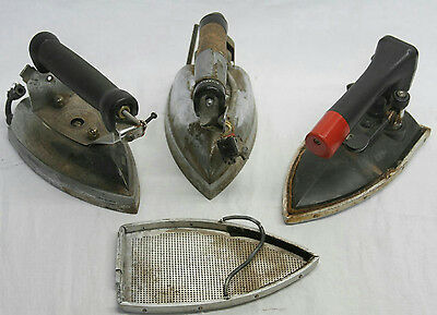 """9"""" Lot Of 3 Vintage Industrial Steam Irons"""