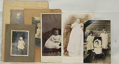 Antique Lot Of Assorted Children And Baby Photograph Cards & Postcard