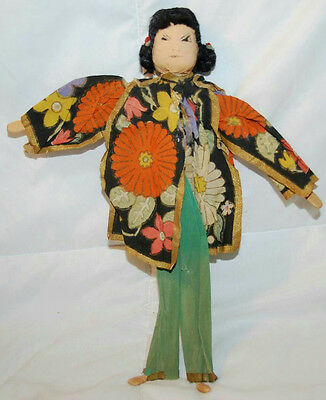 """11"""" Vintage Hand Crafted Chinese Paper Stick Doll"""