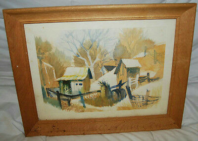 """18.5"""" Vintage Cabin In The Woods Scene Framed Watercolor Painting"""