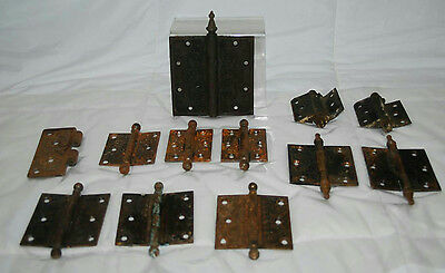 "Antique Cast Iron Assorted Size Hinges & 3.5"" Brass Hinges"