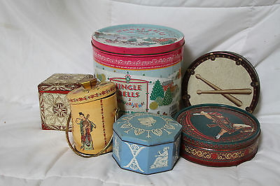 Vintage Lot Of 6 Assorted Murray Allen, Holland, England & Other Holiday Tins