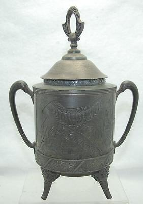 """10"""" Antique Aurora S.p. Mfg Co. Silverplate Footed Jar & Lid With Asian Design"""