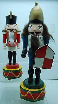 "Pair Of Wood Soldier 14.5"" & 11"" Musical Nutcrackers"