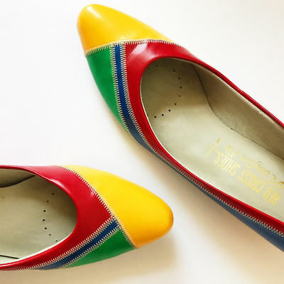 Vintage 80s 90s Color Block Shoes Saved by the Bell Mod Womens 6.5 - 7