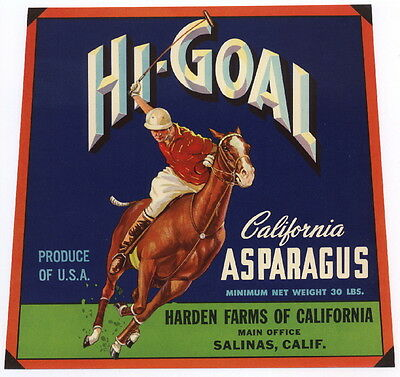 HI-GOAL Vintage Salinas CA Asparagus Crate Label Polo, Horse, AN ORIGINAL LABEL