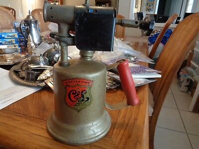Vintage Solid Brass Gas  Blow Torch Clayton & Lambert USA Made