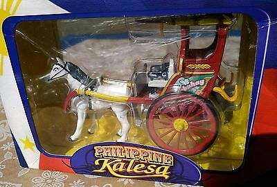 Kalesa Philippine Diecast Metal Vehicle White Horse & Red Buggy Wagon Boxed
