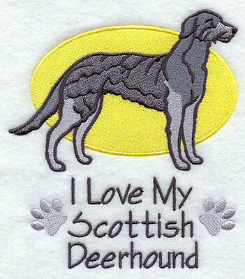 I Love My Scottish Deerhound Dog SET OF 2 HAND TOWELS EMBROIDERED