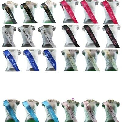 12 Colours - Hens Night Party Sashes Bridal Bride To Be Bridesmaid Wedding Sash