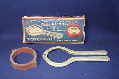 Rare Vintage Perfect Combination Presto Jar Wrench Cupples Jar Holder In Box