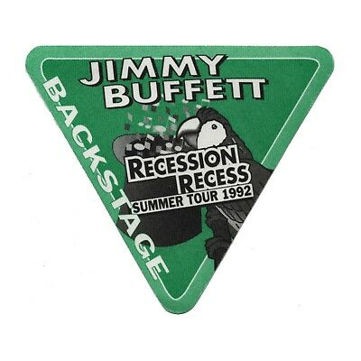 Jimmy Buffett authentic 1992 Recession Recess Tour satin Backstage Pass green