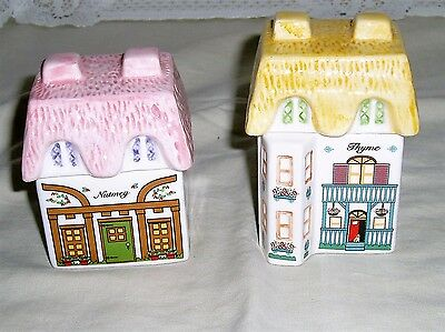 Avon Collection ceramic spice jars Thyme and Nutmeg house shaped