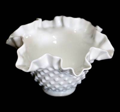 Vintage Fenton white milk glass ruffled hobnail bowl in lovely condition