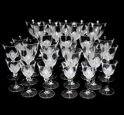 Vintage JG Durand crystal suite of 30 glasses 12 + 12 wine & 6 sherry/port.