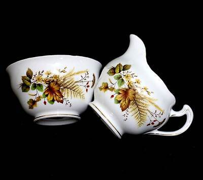 Vintage Royal Vale large sugar bowl & jug with autumn flowers