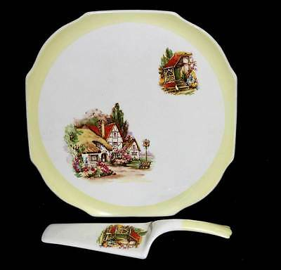 Vintage Lord Nelson Ware English country pub large cake stand & server