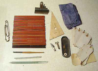 Stationery vintage pencil lot ALPCO EXPERT ARTIST EAGLE TOPPER RARE ART ENGLAND