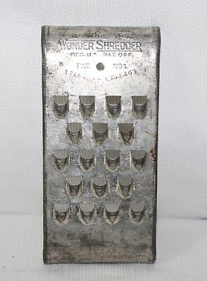 Vintage The Wonder Shredder Primitive Hand Grater Shredder Trade Mark