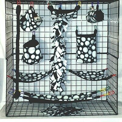 Black W/ White Dots * 15 PC Sugar Glider Cage set * Rat * double layer Fleece