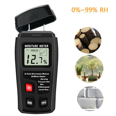 Wood Moisture Mete Accuracy LCD Display 2 Pins  4 Types Wood Moister Detector US