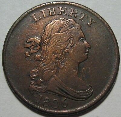 = 1806 VF/XF Half Cent, Super EYE Appeal, FREE Shipping