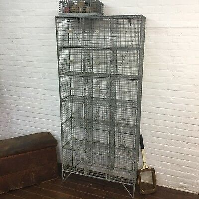 Industrial Vintage Galvanised Wire Mesh Pigeon Hole Storage School Locker