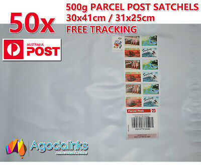 50x 500g Australia Parcel Post Satchel Prepaid $7.95 with Tracking 30x41 / 31x25