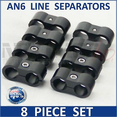 8 x AN6 6AN Stainless Steel Braided Oil Fuel Line hose SEPARATORS - BLACK; dash