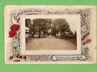 #d.   Australian   1915  Postcard - Greetings From  Toowoomba, Neil Street