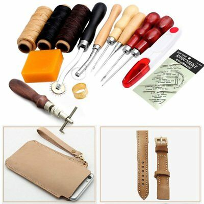14pcs Leder Werkzeug Stitching Craft Hand Sewing Stitching Groover Kit Sets DE
