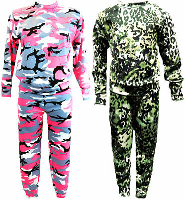 NEW Girls Pink Camo Camouflage Army Tracksuit Top Leggings Green Age 2-12 Years