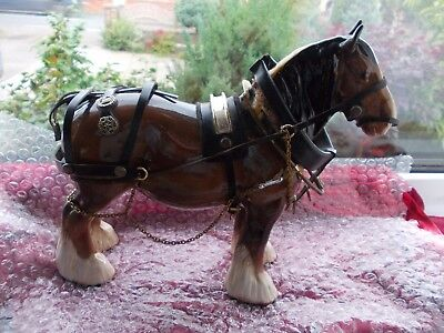 Beswick Superb Vintage Heavy Horse ==Perfect  With Some Harness & Bridle-Wear