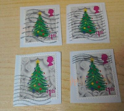 GB 2016 Christmas £1.05 x4 used on paper per scan sample of stamps