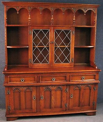 Old Charm Gothic Style Carved Oak Leaded Dresser / Sideboard / Wall Unit