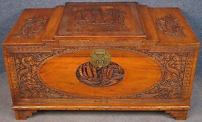 Oriental Carved Camphor Wood Stepped Top Box / Coffer / Blanket Chest