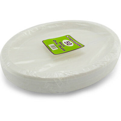 26cm White Disposable Plastic Oval Plates Party Event BBQ Buffet 50 Pack Cheap