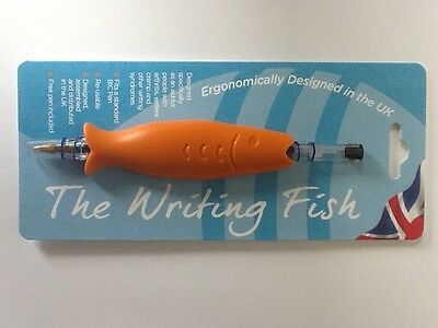 Writing grip hold aid + pen for arthritis/writer's cramp.The Writing Fish. Black