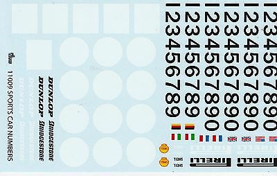 Sports Car type Racing Numbers   Gofer #11009   1/25th - 1/24th Scale Decals a