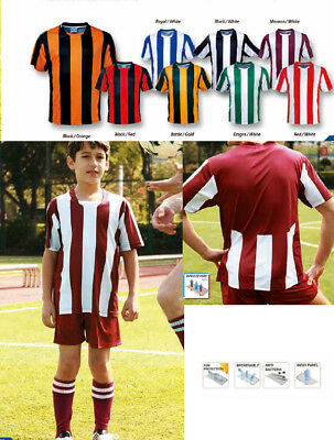 Bocini Kids Sublimated Striped Football / Soccer Jersey T-Shirt with Mesh Panels