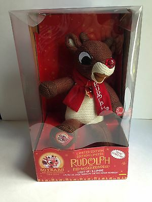 RUDOLPH the Red-Nosed Reindeer Knit Plush Doll, Light-Up, Limited Edition, NIB