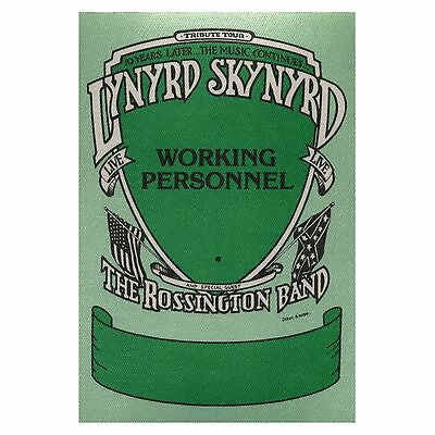 Lynyrd Skynyrd authentic Working 1987-1988 tour Backstage Pass