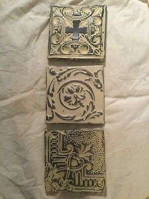 Antique Tin Ceiling Tiles 11x11 mounted for wall hanging.. ivory