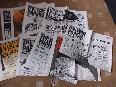 """21 to 30 Vintage Reprint """"The War Papers"""" (reprinted paper from WW2)lGood Condt"""