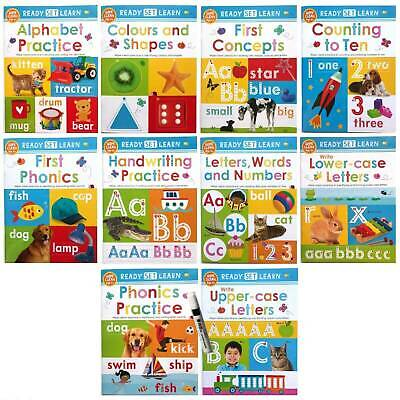 ready set learn 10 wipe clean early learning books with pen & board kids ages 3+
