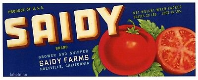 SAIDY Brand, Holtville California, Tomato,  *AN ORIGINAL PRODUCE CRATE LABEL*