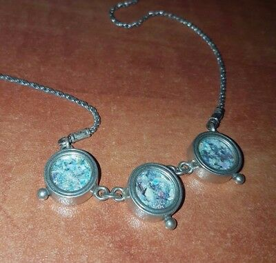 Ancient Roman Glass Set In Silver